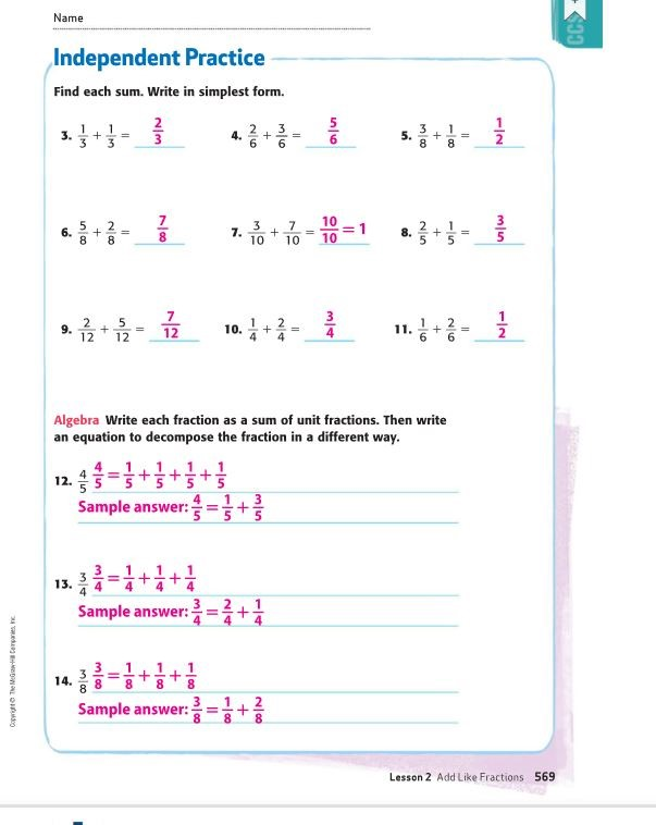 Math Answers for Thursday 3-26
